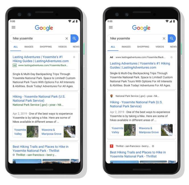 Google met des favicons dans les résultats de recherche
